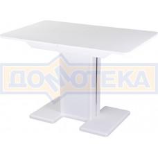 Стол со стеклом - Танго ПР БЛ ст-БЛ 05 БЛ/БЛ ,белый
