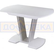 Стол кухонный Танго ПО БЛ ст-БЛ 03 БЛ, белый, выбеленное закаленное стекло