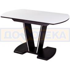Стол кухонный Танго ПО ВН ст-БЛ 03 ВН, венге, выбеленное закаленное стекло