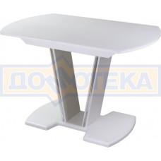 Стол со стеклом - Танго ПО-1 БЛ ст-БЛ 03-1 БЛ, белый, выбеленное закаленное стекло