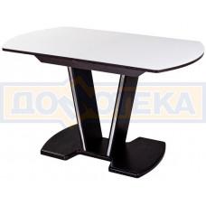 Стол со стеклом - Танго ПО-1 ВН ст-БЛ 03-1 ВН, венге, выбеленное закаленное стекло