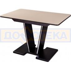 Стол со стеклом - Танго ПР-1 ВН ст-КР 03-1 ВН, венге, стекло кремового цвета