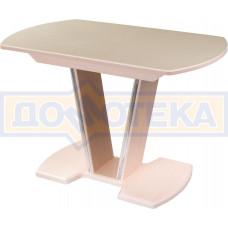 Стол с камнем - Румба ПО-1 КМ 06 МД 03-1 МД, молочный дуб, камень песочного цвета