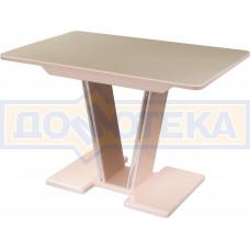 Стол с камнем - Румба ПР-1 КМ 06 МД 03-1 МД, молочный дуб, камень песочного цвета