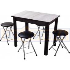 Обеденная группа Домотека Джаз ПР-М №1, стол Джаз ПР-М ДБ/ВН 04 ВН и 4 табурета Соренто В4