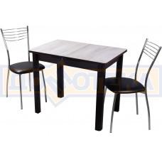 Обеденная группа Домотека Джаз ПР-М №2, стол Джаз ПР-М ДБ/ВН 04 ВН и 2 стула Омега-1 В4