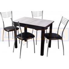 Обеденная группа Домотека Джаз ПР-М №3, стол Джаз ПР-М ДБ/ВН 04 ВН и 4 стула Омега-1 В4
