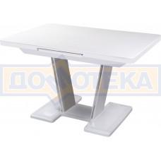 Обеденный стол с камнем Реал ПР-1 КМ 04 БЛ 03-1 БЛ, белый/камень белого цвета