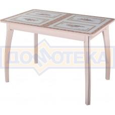 Стол кухонный Танго ПР МД ст-72 07 ВП МД, молочный дуб, растительный орнамент