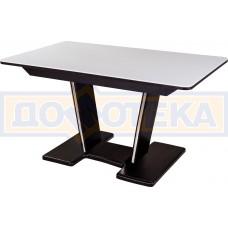 Обеденный стол с камнем Румба ПР-2 с центральной ножкой 04/ВН 03-2 ВН, венге/камень белого цвета