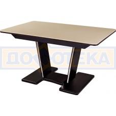 Обеденный стол с камнем Румба ПР-2 с центральной ножкой 06/ВН 03-2 ВН, венге/камень песочного цвета
