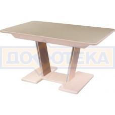 Обеденный стол с камнем Румба ПР-2 с центральной ножкой 06/МД 05-2 МД/КР КМ 06, молочный дуб/камень песочного цвета