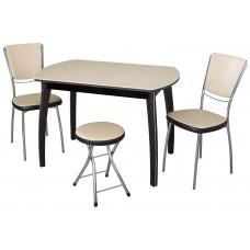 Обеденная группа стол Румба ПО + стулья Омега 5 В-1/В-4 (2шт.) + табурет Соренто В-1/В-4 (1шт.)