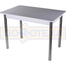 Столы с камнем Румба ПР КМ 07 БЛ 02, искусственный камень серого цвета с белыми вкраплениями/белый