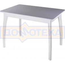 Столы с камнем Румба ПР КМ 07 БЛ 07 ВП БЛ, искусственный камень серого цвета с белыми вкраплениями/белый