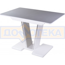 Столы с камнем Румба ПР КМ 07 БЛ 03 БЛ, искусственный камень серого цвета с белыми вкраплениями/белый