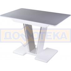 Столы с камнем Румба ПР-1 КМ 07 БЛ 03 БЛ, искусственный камень серого цвета с белыми вкраплениями/белый