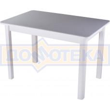 Столы с камнем Румба ПР-1 КМ 07 БЛ 04 БЛ, искусственный камень серого цвета с белыми вкраплениями/белый